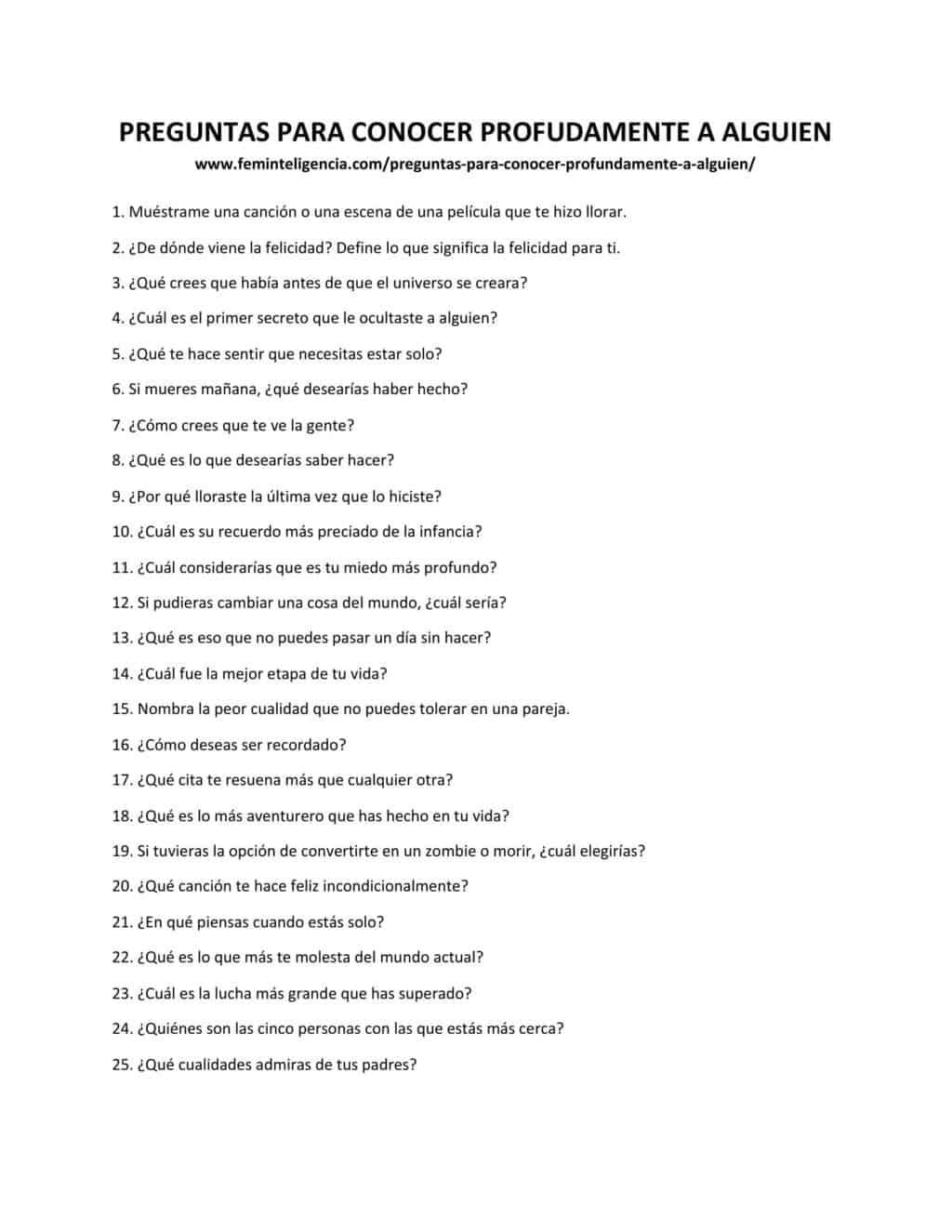 Las 37 Mejores Preguntas Para Conocer Profundamente A Alguien