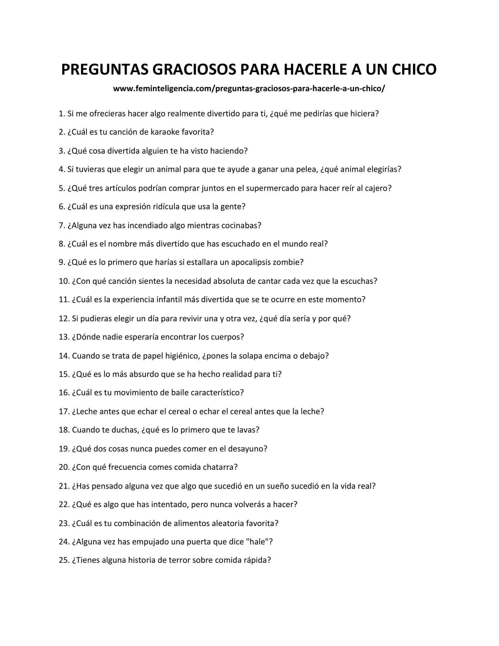 Lista de preguntas