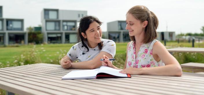 estudiantes alegres que estudian fuera de sus hogares.