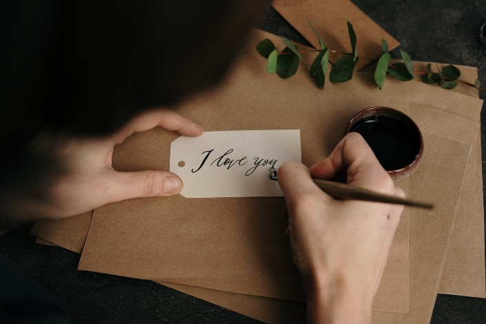 the person who writes beautifully on the card