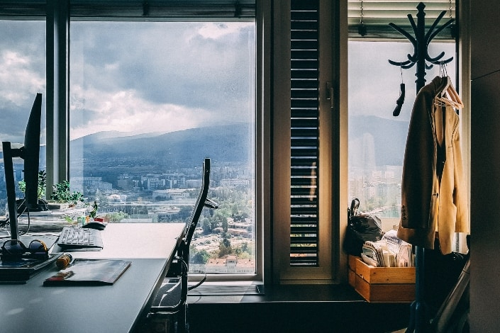 Office with beautiful view in window
